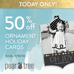 50% off Ornament Holiday Cards one-day no min (11/10)