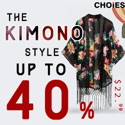 KIMONO Style up to 40% off at Choies