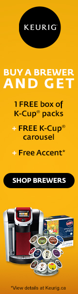 Buy a Brewer and get 1 FREE box of K-Cup packs + FREE K-Cup carousel + FREE Brewer accent