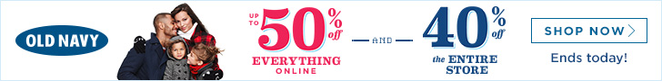 Up to 50% off everything online & 40% off the entire store at Old Navy Canada