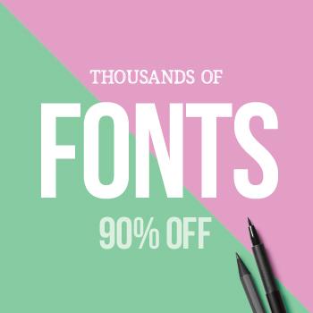 SALE!! 90% OFF Fonts & Graphics