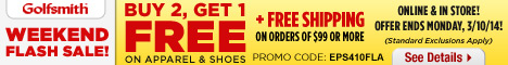 Weekend Flash Sale! Buy 2, Get 1 Free on Apparel & Shoes + Free Shipping Over $99 with code WEB410FL