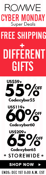 Save up to 65% off + Free Shipping + Free GIfts on Cyber Monday at ROMWE.com!