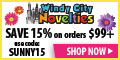 15% Off Regularly Priced Party Invites, Decorations, Banners and Supplie at Windy City Novelties