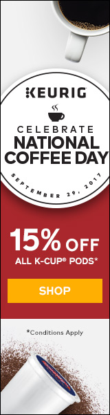 Coffee Month! Get 15% off on pods with code: COFFEEM17 at Keurig.ca! (9/1- 9/30)