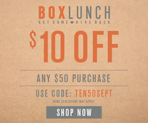 $10 Off $50 w/code: TEN50SEPT at BoxLunch