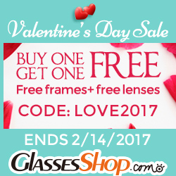 Valentine's Day Deal - Buy One Get One Free At GlassesShop.com. Code LOVE2017 - Expires 2/14/17