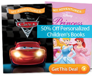 2 Personalized Disney Princess or Cars Books