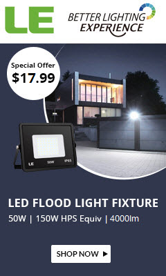 67% Off 50W 4000lm 5000K Daylight White LED Flood Light Fixtures, 150W Equivalent for $17.99