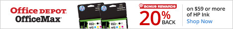20% back in Rewards on $59 of HP Ink