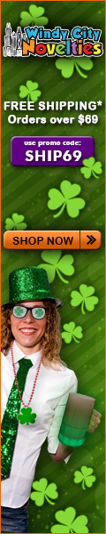 St Patrick's Day Party Supplies at Windy City Novelties 120% Low Price Guarantee plus Free Shipping