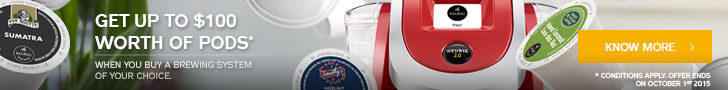 Get up to  $100 worth of Keurig beverage pods  when you buy a brewer