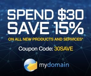 Spend $30 Save 15% at domain.com