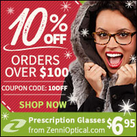 10% OFF Orders Over $100 at ZenniOptical.com with Coupon Code 10OFF!