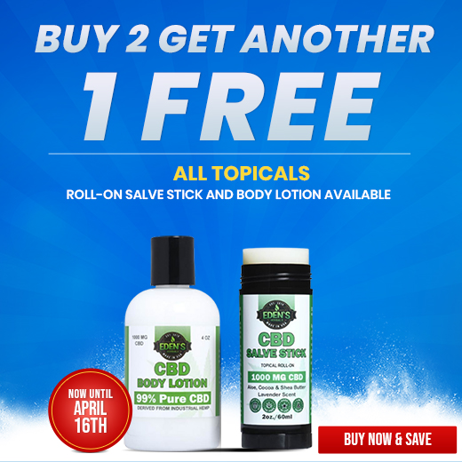 Banner announcing Eden's Herbals Buy 2 Get 1 Free Topicals Sale
