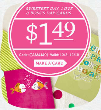 Affiliate Exclusive! $1.49 Sweetest Day, Love & Boss's Day Cards at Cardstore! Use Code: CAM4149, Va