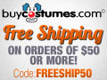 Free Shipping on orders over $50 at BuyCostumes.com
