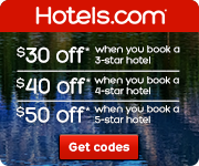Hotels.com Canada: Save between $30-$50 when you book a 3-5 star hotel (minimum spend $200-$300). Book by 8/31/14, Travel by 12/31/14