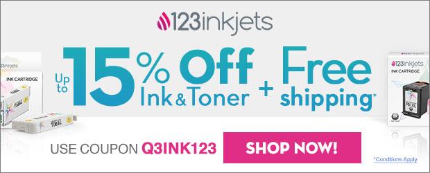Save 15% on Ink & Toner at 123inkjets! Use code Q3INK123 (6/29 - 9/27)