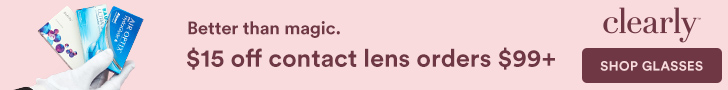 $15 off Contacts at Clearly on orders of $99+