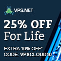 Get 25% + Extra 10% off - code: VPSCLOUD10