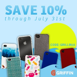 Get 10 percent off Griffin iPad and iPhone products now!