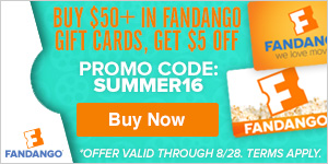 $5 off $50 or more of Fandango Gift Cards