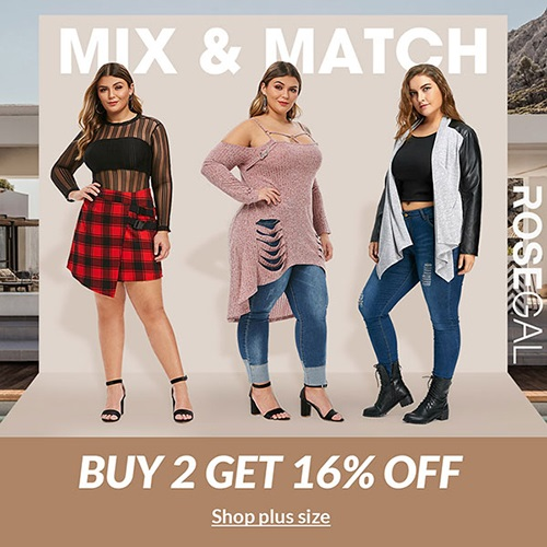 ROSEGAL Plus Size Mix&Match Collection Buy 2 Get 16% OFF