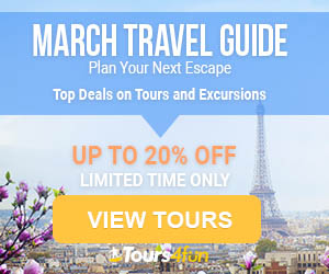 March Travel Deals Up to 20% off at Tours4Fun.com!