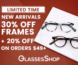 NEW ARRIVALS! 30% Off Frames + 20% Off Orders $49+ at GlassesShop.com! Use code NEWIN.  Offer expire