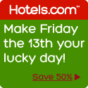 Save 50% Make Friday the 13th your lucky day!! Book by 9/13, Travel by 10/21