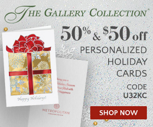 50% + $50 Off Personalized Holiday Cards at GalleryCollection.com