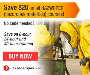 OSHACampus- $20 Off Hazwoper Courses 300x250