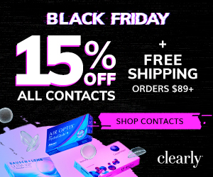 Black Friday – 15% off + Free Shipping on Contact Lens Orders over $99