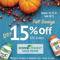Botanic Choice Fall Savings 15% off $50 plus free shipping