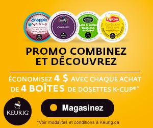 Keurig Canada : 4$ de rabais sur un achat de 4 boites, Expédition gratuite