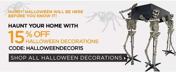 15% off on Halloween Decor and Party Supplies