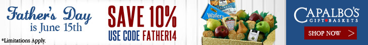 Capalbos Gift Baskets - Father's Day is June 15. Save 10% on all gift baskets. Use code FATHER14.