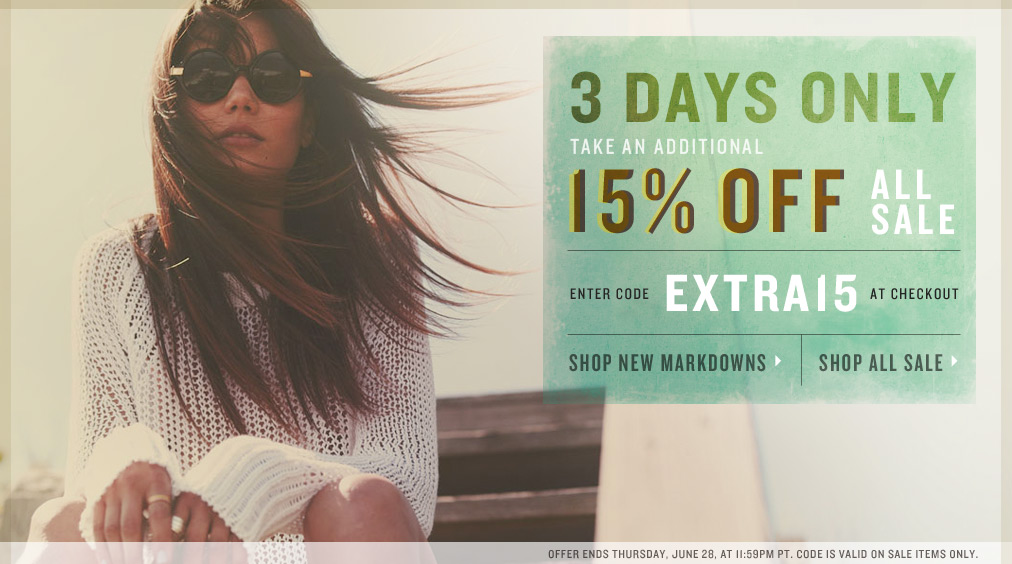 THREE DAYS ONLY: Save 15% on Sale Items at Shopbop with Promo Code: EXTRA15 (June 26-28)
