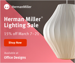 Save 15% during the Herman Miller Lighting Sale (Valid 3/7/19 - 3/21/19)
