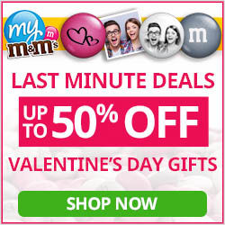 Get 50% OFF select Valentine's Day Gifts from My M&M'S with code SWEETDEALS valid 2.5 - 2.11