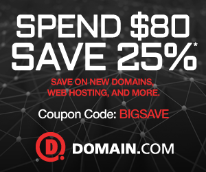 Spend $80, Save 25% at Domain.com with code BIGSAVE
