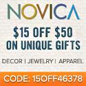 $15 off $50 at NOVICA.com!