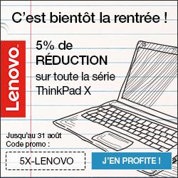 5 % de réduction sur tous les produits Lenovo Think! Coupon de réduction : 5-LENOVO-OCT
