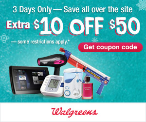 Walgreens: 3 Days Only: Extra $10 OFF $50 Online
