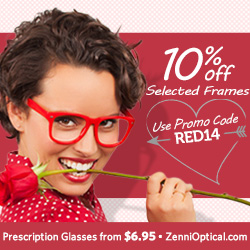 10% Off you entire purchase when ordering Selected Frames! Use promo code RED14 at ZenniOptical.com