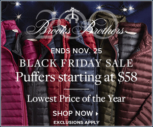 Black Friday Sale Puffers Starting at $58, Men's Shirts 4 for $199.