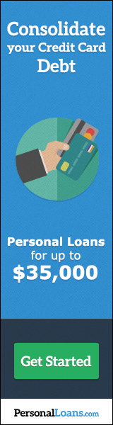 advertisement from PersonalLoans.com for credit card debt consolidation loan up to $35,000