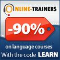 -90% : Online Language Courses Blue