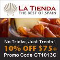 No Tricks, Just Treats - 10% Off Orders of $75+ at LaTienda.com with Promo Code CT1013C